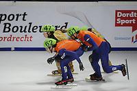 SCHAATSEN: DORDRECHT: Sportboulevard, Korean Air ISU World Cup Finale, 11-02-2012, Relay Men, Yuzo Takamido JPN (47), Sjinkie Knegt NED (62), Niels Kerstholt NED (61), ©foto: Martin de Jong