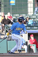 Myrtle Beach Pelicans infielder Preston Beck #15 at bat during a game against the Potomac Nationals at Ticketreturn.com Field at Pelicans Ballpark on April 16, 2014 in Myrtle Beach, South Carolina. Potomac defeated Myrtle Beach 7-3. (Robert Gurganus/Four Seam Images)