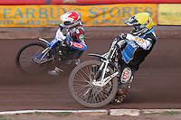 Heat 4: Richie Worrall (yellow) and Piotr Swiderski - Vortex Lakeside Hammers vs Kings Lynn Stars - Sky Sports Elite League Speedway at Arena Essex Raceway, Purfleet - 23/04/13 - MANDATORY CREDIT: Gavin Ellis/TGSPHOTO - Self billing applies where appropriate - 0845 094 6026 - contact@tgsphoto.co.uk - NO UNPAID USE.