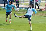 Getafe CF's David Timor (l) and Erick Cabaco during training session. February 17, 2021.(ALTERPHOTOS/Acero)