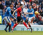 05.05.2018 Rangers v Kilmarnock: Jordan Jones with David Bates and Jason Holt
