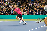 March 05, 2018: Bill Gates runs down a ball during his doubles set with Roger Federer (SUI) against Jack Sock (USA) and Savannah Guthrie at The Match for Africa 5 Silicon Valley played at the SAP Center in San Jose, California. ©Mal Taam/TennisClix