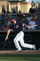 Chase McDonald (23) of the Lancaster JetHawks bats during a game against the Bakersfield Blaze at The Hanger on August 5, 2015 in Lancaster, California. Bakersfield defeated Lancaster, 12-5. (Larry Goren/Four Seam Images)