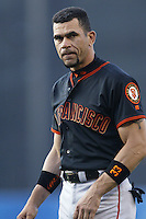 Benito Santiago of the San Francisco Giants during a 2002 MLB season game against the Los Angeles Dodgers at Dodger Stadium, in Los Angeles, California. (Larry Goren/Four Seam Images)