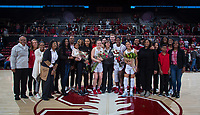 Stanford, CA - February 9, 2020: DiJonai Carrington, Mikaela Brewer, Nadia Fingall, Anna Wilson, Tara VanDerveer at Maples Pavilion. Stanford Women's Basketball defeated the USC Trojans 79-59 on their Senior Night and celebration of National Girls and Women in Sports Day.