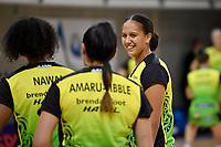 Aliyah Dunn of the Pulse warm up before the ANZ Premiership Netball - Te Wānanga o Raukawa Pulse v Southern Steel at Te Rauparaha Arena, Porirua, New Zealand on Sunday 16 May 2021.<br /> Photo by Masanori Udagawa. <br /> www.photowellington.photoshelter.com