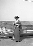 Niagara Falls, New York:  Sarah Stewart standing next to a lifeboat on the Dalhousie City ferry on the way to Queenston Ontario.