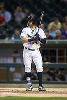 Juan Perez (4) of the Charlotte Knights at bat against the Scranton/Wilkes-Barre RailRiders at BB&T BallPark on April 12, 2018 in Charlotte, North Carolina.  The RailRiders defeated the Knights 11-1.  (Brian Westerholt/Four Seam Images)