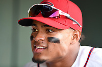 Second baseman Kervin Suarez (36) of the Greenville Drive before a game against the Kannapolis Intimidators on Wednesday, May 9, 2018, at Fluor Field at the West End in Greenville, South Carolina. Kannapolis won, 10-2. (Tom Priddy/Four Seam Images)