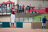 STANFORD, CA - February 20, 2016:  Stanford plays its season opener vs Cal State Fullerton at Klein Field at Sunken Diamond. Stanford won 2-0. Tristan Beck prepares to throw his first pitch at Stanford.