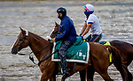 September 2, 2020: Trainer Barclay Tagg and morning line Kentucky Derby favorite Tiz the Law on the track as horses prepare for the 2020 Kentucky Derby and Kentucky Oaks at Churchill Downs in Louisville, Kentucky. The race is being run without fans due to the coronavirus pandemic that has gripped the world and nation for much of the year. Scott Serio/Eclipse Sportswire/CSM
