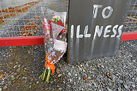 COPY BY TOM BEDFORD<br /> Pictured: Flowers left at the gate of the Chipoteria fish and chips shop in Hermon, Wales, UK. Wednesday 31 October 2018<br /> Re: A woman who died after suffering severe burns at the Chipoteria chip shop in Carmarthenshire, west Wales has been named as Mavis Bran, 69.<br /> She died at Morriston Hospital in Swansea, six days after the incident in Hermon, near Carmarthen on the 23rd October.<br /> A 70 year old man has been arrested by Dyfed-Powys Police and bailed while investigations are continuing.