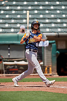 Cody Thomas (16) of the Las Vegas Aviators at bat against the Salt Lake Bees at Smith's Ballpark on June 27, 2021 in Salt Lake City, Utah. The Aviators defeated the Bees 5-3. (Stephen Smith/Four Seam Images)