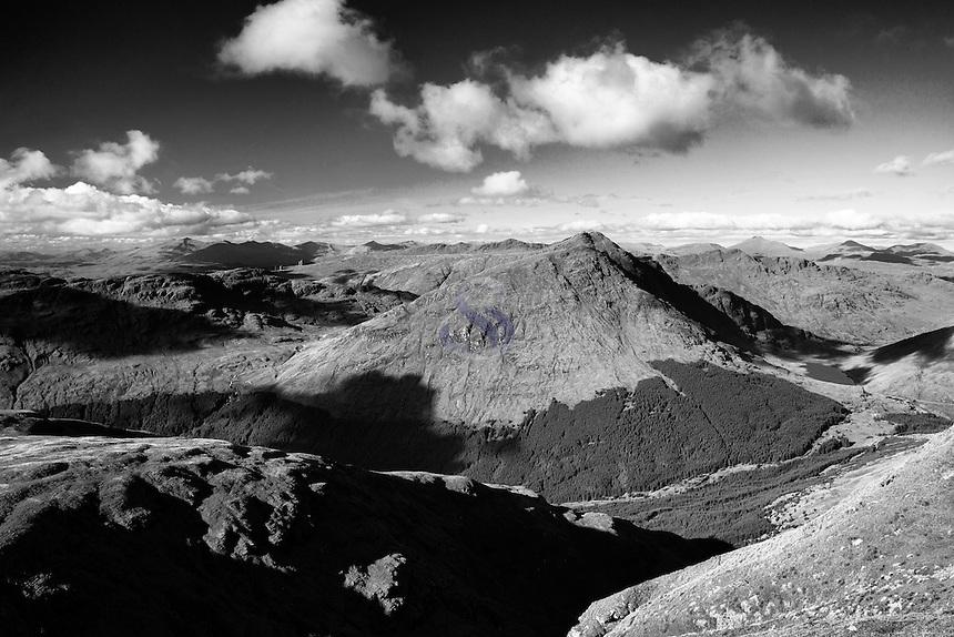 Beinn Luibhean, Beinn Ime, Beinn Narnain and The Cobbler from Ben Donich, the Arrochar Alps, Loch Lomond and the Trossachs National Park, Argyll & Bute