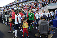 USA midfielder (11) Freddy Adu leads the United States onto the field for introductions. The United States (USA) defeated Uruguay (URU) 2-1 in overtime during a FIFA U-20 World Cup round of 16 match at the National Soccer Stadium at Exhibition Place, Toronto, Ontario, Canada, on July 11, 2007.