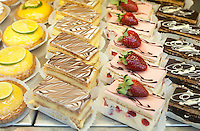 Petit fours and little cakes and tarts in a Paris pastry shop, France.