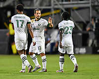 LAKE BUENA VISTA, FL - AUGUST 01: Sebastián Blanco #10 of the Portland Timbers celebrates his goal with Yimmi Chará #23 of the Portland Timbers during a game between Portland Timbers and New York City FC at ESPN Wide World of Sports on August 01, 2020 in Lake Buena Vista, Florida.