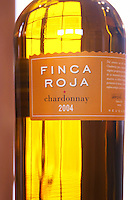 bottle of Finca Roja Chardonnay Bodega Del Anelo Winery, also called Finca Roja, Anelo Region, Neuquen, Patagonia, Argentina, South America