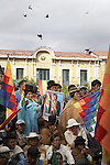 Supporters of Evo Morales - farmers, miners, coca-growers and middle class - march to Plaza Murillo and the Presidential Palace to celebrate with the president as he receives the new constitution on December 15, 2007.  The new Magna Carta, while controversial and opposed by 6 out of Bolivia's 9 departments, is nevertheless a landmark victory for the country's poor and indigenous communities which represent the majority of the population.    .