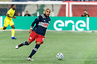FOXBOROUGH, MA - OCTOBER 3: Teal Bunbury #10 of New England Revolution looks to pass during a game between Nashville SC and New England Revolution at Gillette Stadium on October 3, 2020 in Foxborough, Massachusetts.