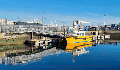 Inland and Coastal Marinas new heavy-duty workboat pontoons installed at Fraserburgh Harbour