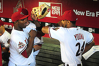 May 8, 2008; Phoenix, AZ, USA; Arizona Diamondbacks outfielders Justin Upton (left) and Chris Young do a pre game dance prior to the game against the Philadelphia Phillies at Chase Field. Mandatory Credit: Mark J. Rebilas-
