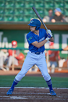 Hunter Feduccia (18) of the Ogden Raptors bats against the Orem Owlz at Lindquist Field on June 26, 2018 in Ogden, Utah. The Raptors defeated the Owlz 6-5. (Stephen Smith/Four Seam Images)
