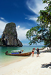 Thailand, Krabi, Tham Phra Nang Beach and Ko Rung Nok (Happy Island) rock