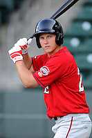 Infielder/designated hitter Kevin Mager (24) of the Greenville Drive works out on the team's Media Day first workout on Tuesday, April 1, 2014, at Fluor Field at the West End in Greenville, South Carolina. (Tom Priddy/Four Seam Images)