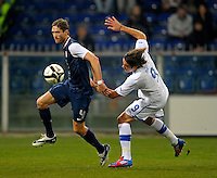 Clarence Goodson (l,USA) vs. Alessandro Matri (r, ITA), during the friendly match Italy against USA at the Stadium Luigi Ferraris at Genoa Italy on february the 29th, 2012.