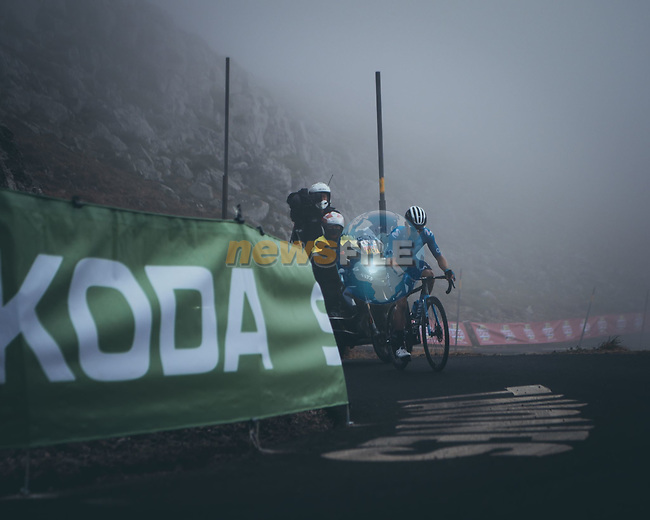 Miguel Angel Lopez Moreno (COL) Movistar Team climbing his way to victory on Stage 18 of La Vuelta d'Espana 2021, running 162.6km from Salas to Alto del Gamoniteiru, Spain. 2nd September 2021.   <br /> Picture: Cxcling | Cyclefile<br /> <br /> All photos usage must carry mandatory copyright credit (© Cyclefile | Cxcling)