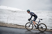 Romain Bardet (FRA/DSM) coming over the Passo Giau<br /> <br /> due to the bad weather conditions the stage was shortened (on the raceday) to 153km and the Passo Giau became this years Cima Coppi (highest point of the Giro).<br /> <br /> 104th Giro d'Italia 2021 (2.UWT)<br /> Stage 16 from Sacile to Cortina d'Ampezzo (shortened from 212km to 153km)<br /> <br /> ©kramon