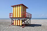 Umkleidekabine am Stand von Batumi. / Changing room at Batumi sea shore.