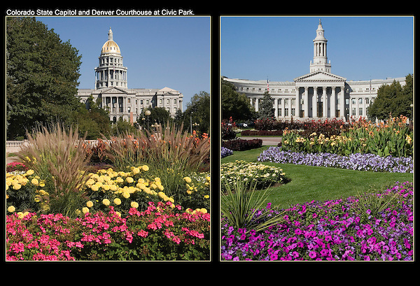 Colorado State Capitol (left),  Denver County Courthouse, Denver, Colorado.<br />