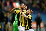 Nederland, Arnhem, 31 mei 2015<br /> Seizoen 2014-2015<br /> Play-offs voor voorronde Europa League<br /> Vitesse-SC Heerenveen (5-2)<br /> Guram Kashia aanvoerder van Vitesse, schreeuwt het uit van vreugde na een doelpunt van Vitesse. V.l.n.r.: Guram Kashia aanvoerder van Vitesse, Eloy Room, keeper van Vitesse en Rochdi Achenteh