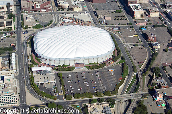 aerial view above Metrodome stadium Minneapolis Minnesota