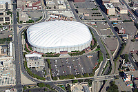 aerial view above Metrodome stadium Minneapolis Minnesota