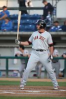 Chris Shaw (43) of the San Jose Giants bats against the Rancho Cucamonga Quakes at LoanMart Field on May 23, 2016 in Rancho Cucamonga, California. San Jose defeated Rancho Cucamonga, 4-2. (Larry Goren/Four Seam Images)