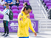 ORLANDO, FL - FEBRUARY 21: Marta #10 of Brazil enters the field before a game between Brazil and USWNT at Exploria Stadium on February 21, 2021 in Orlando, Florida.