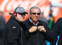 Feb 4, 2016; Chandler, AZ, USA; NHRA team owner Don Schumacher (right) with funny car crew chief Dickie Venables during pre season testing at Wild Horse Pass Motorsports Park. Mandatory Credit: Mark J. Rebilas-USA TODAY Sports