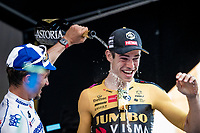Wout Van Aert (BEL/Jumbo-Visma) wins 'La Primavera' (Spring) in summer and get's some final refreshing from last years winner (& this years runner-up) Julian Alaphilippe (FRA/Deceuninck-QuickStep)<br /> <br /> 111st Milano-Sanremo 2020 (1.UWT)<br /> 1 day race from Milano to Sanremo (305km)<br /> <br /> the postponed edition > exceptionally held in summer because of the Covid-19 pandemic calendar reshuffle