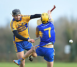 Cathal Malone of  Sixmilebridge  in action against Evan Keogh of Newmarket during their Clare Champion Cup final at Clonlara. Photograph by John Kelly.