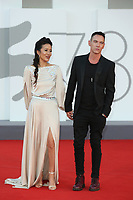 """VENICE, ITALY - SEPTEMBER 08: Mara Lane and Jonathan Rhys Meyers attend the red carpet of the movie """"Freaks Out"""" during the 78th Venice International Film Festival on September 08, 2021 in Venice, Italy. (Photo by Mark Cape/Insidefoto)"""