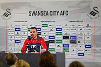 Manager Carlos Carvalhal speaks to members of the press during the Swansea City Training Session and Press Conference at The Fairwood Training Ground, Wales, UK. Thursday 29 March 2018