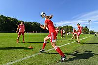 Standard Laura Miller (9) and Standard Yuna Appermont (6) pictured before a women soccer match between Standard Femina de Liege and Eendracht Aalst dames, Saturday 25 September 2021 in Liege, in the 1/16 th final of the Belgian Womens Cup 2021-2022. PHOTO BERNARD GILLET