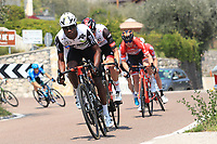 23rd April 2021; Cycling Tour des Alpes Stage 5, Valle del Chiese to Riva del Garda, Italy;  Nicholas Dlamini Team Qhubeka Assos on the uphill climb
