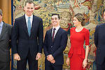 King Felipe VI of Spain and Queen Letizia receive in audience to the World Champions Figure Skating, Javier Fernandez Lopez at Zarzuela Palace in Madrid. April 22,2016. (ALTERPHOTOS/Borja B.Hojas)
