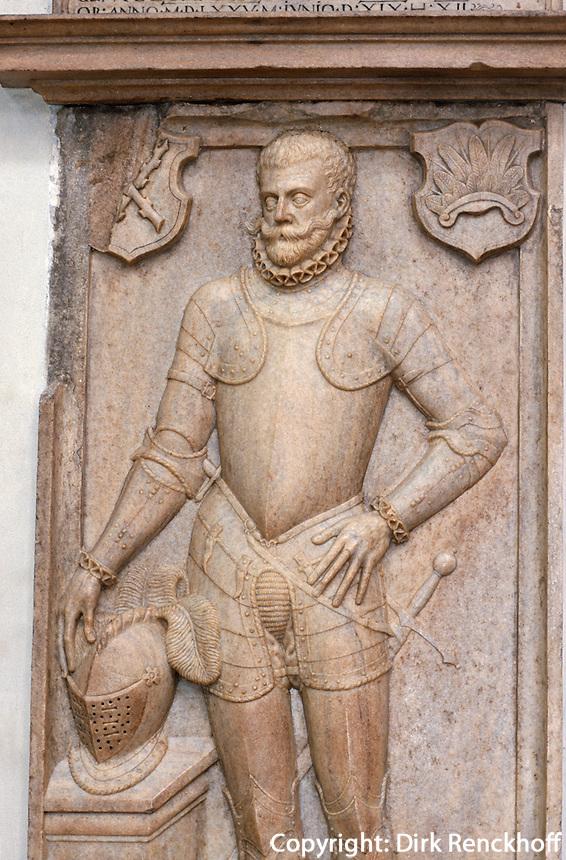 Grabplatte in der Teyn-Kirche (Tysky Chram), Prag, Tschechien, Unesco-Weltkulturerbe.