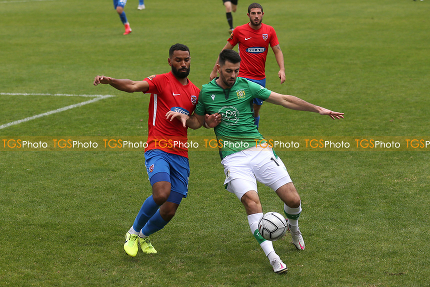 Joe Quigley of Yeovil and Luke Croll of Dagenham and Redbridge during Dagenham & Redbridge vs Yeovil Town, Vanarama National League Football at the Chigwell Construction Stadium on 17th October 2020