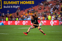 New Zealand's Niall Williams passes during the women's cup final against Canada on day two of the 2020 HSBC World Sevens Series Hamilton at FMG Stadium in Hamilton, New Zealand on Sunday, 26 January 2020. Photo: Dave Lintott / lintottphoto.co.nz